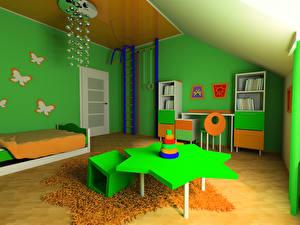 Картинка Интерьер Детская комната Дизайна Столы