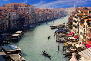 Фотографии Италия Лодки Дома Венеция Водный канал Canale Grande