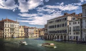 Фото Италия Здания Катера Причалы Венеция Водный канал город