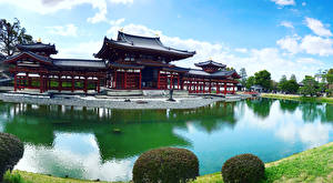 Фотографии Япония Киото Парки Пруд Пагоды Природа