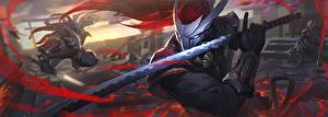 Картинка Катана Воины LOL Меч Yasuo Игры