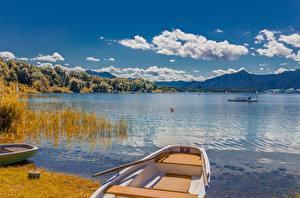 Картинки Озеро Лодки Пейзаж Германия Облачно Бавария Lake Chiemsee, Chiemgau Природа