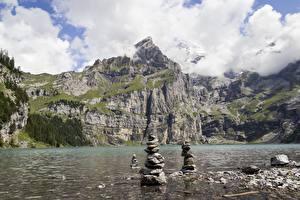 Обои Озеро Камень Гора Швейцария Скалы lake Oeschinen Природа