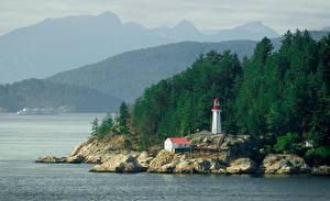 Фотография Маяки Канада Утес British Columbia Природа