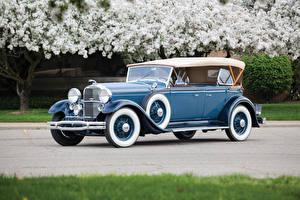 Картинка Lincoln Ретро Голубые Металлик 1931 Model K Dual Cowl Sport Phaeton Автомобили