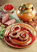Обои Мясные продукты Картошка Сосиска Ветчина Пища
