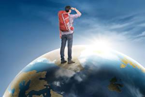 Фотографии Мужчины Рюкзак Земли Путешественник Туризм