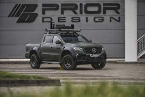 Картинки Mercedes-Benz Зеленый Пикап кузов 2018-19 Prior-Design PD550 Widebody Aerodynamik-Kit машины