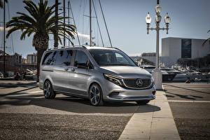 Фотография Mercedes-Benz Серебристая 2019 Concept EQV автомобиль