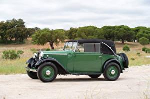 Фото Мерседес бенц Старинные Зеленый Металлик Кабриолета Сбоку 1934-35 170 Cabriolet C Автомобили