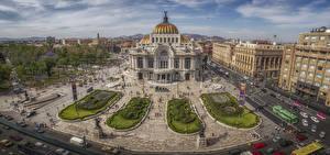 Обои Мексика Дома Городская площадь Улица Сверху Mexico City Города