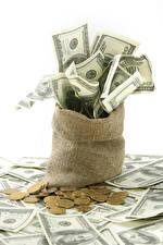 Фотография Деньги Банкноты Монеты Доллары Белом фоне