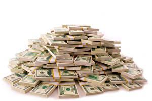 Картинка Деньги Банкноты Доллары Белым фоном куча денег