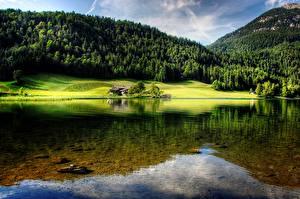 Картинки Гора Лес Австрия Озеро Пейзаж Hintersteinersee lake, Tyrol Природа