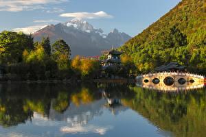 Картинки Горы Лес Мосты Китай Пагоды Jade dragon snow mountain Природа