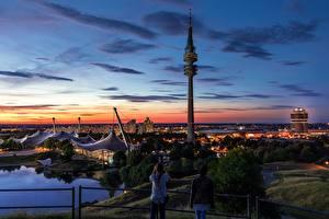 Фото Мюнхен Германия Рассветы и закаты Парки Башня Olympic Park Города