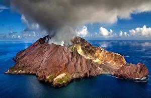 Фотографии Новая Зеландия Остров Вулкан Дым White Island Природа