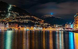 Фото Норвегия Дома Горы Пирсы Берген Залив Ночные Города