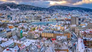Фотография Норвегия Дома Горы Осло Крыша Сверху Города
