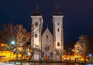 Фотография Норвегия Храм Церковь Берген В ночи Уличные фонари город