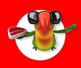Фотографии Попугаи Очки Клюв Красный фон 3D Графика