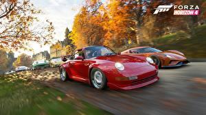 Картинка Порше Forza Horizon 4 Едет Красные Regera E3 2018 Игры Автомобили 3D_Графика
