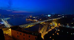 Картинки Порту Португалия Здания Реки Мост Ночь Уличные фонари Города