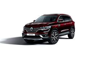 Фотографии Renault Белым фоном Бордовый 2019 Koleos Worldwide