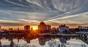 Фотография Речка Здания Рассвет и закат Канада Солнце Saskatoon, Saskatchewan river Города