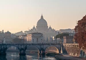 Фото Рим Италия Церковь Мосты Утро Купол Города