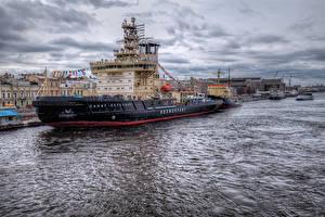 Картинки Россия Санкт-Петербург Реки Пристань Корабли город