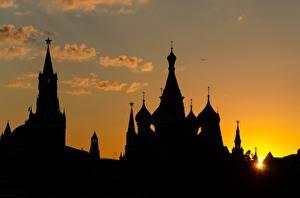 Обои Москва Россия Рассветы и закаты Московский Кремль Силуэт город
