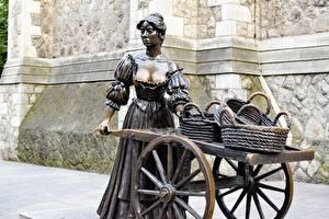 Фотография Скульптуры Ирландия Дублин Корзинка Statue of Molly Malone, Grafton street Девушки