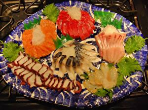 Картинки Морепродукты Рыба Нарезанные продукты Еда