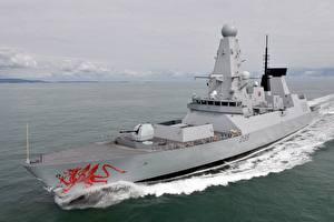 Обои для рабочего стола Корабль HMS Dragon Royal Navy Type 45 destroyer военные