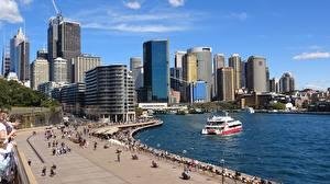 Обои Небоскребы Австралия Корабли Набережной Сидней Залив Города