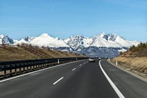 Фото Словакия Гора Дороги Снега Асфальт Tatra mountains Природа