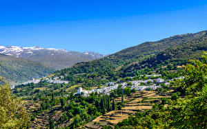 Картинка Испания Дома Поля Деревня Холмы Alpujarras Granada город