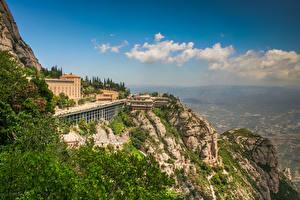 Картинка Испания Монастырь Скала Catalonia, Benedictine monastery of Montserrat