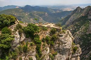 Фотографии Испания Горы Скала Catalonia, Pyrenees Природа