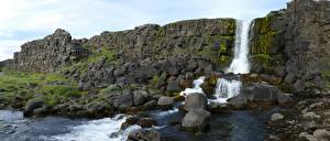 Фотографии Камни Исландия Парк Мха Скала Ручеек Thingvellir national Park Природа
