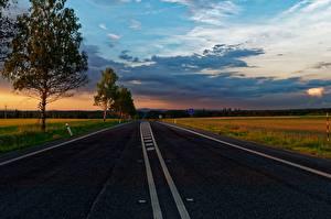 Обои Рассветы и закаты Дороги Деревья Асфальт Природа