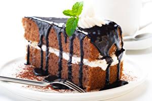 Фотография Сладкая еда Пирожное Шоколад Вилка столовая Еда