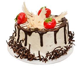 Обои Сладкая еда Торты Клубника Шоколад Белый фон Дизайн Еда