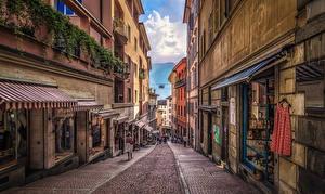 Обои Швейцария Здания Улице Lugano город