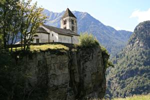 Фотографии Швейцария Гора Церковь Утес Ticino Burgdorf город