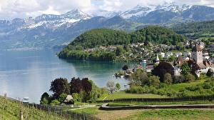 Фото Швейцария Гора Озеро Побережье Lake Thun, Canton of Bern Природа
