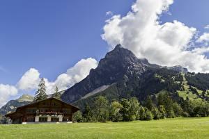 Фотографии Швейцария Горы Пейзаж Альп Облака Поселок Kandersteg, Canton of Bern Природа
