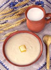 Картинка Скатерть Молоко Пшеница Каша Масло Farina Еда