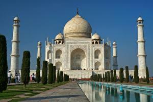 Фото Тадж-Махал Индия Мечеть Купол mausoleum, Agra